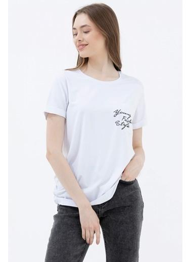 Sementa Rahat Kesim Cep Detaylı Baskılı Tshirt - Beyaz Beyaz